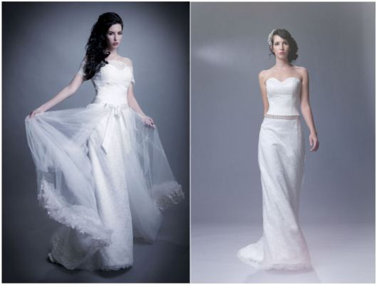 Wedding Gown with jacket & detachable skirt