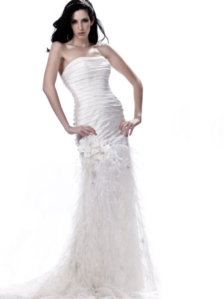 Wedding Dress with Osterich Feathers